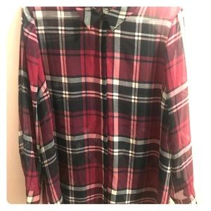 Lane Bryant sheer plaid button up blouse